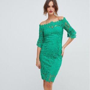 Paper Dolls Emerald Green Crochet Midi Dress